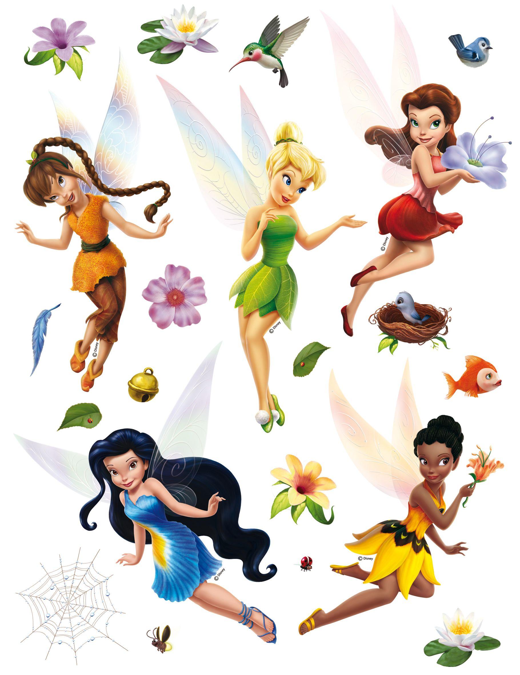 Cool Disney Fairies Deze mooie grote muurstickers van Tnkerbell en de Disney Elfjes zitten op een vel