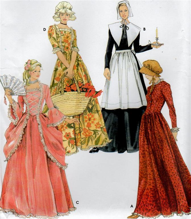 Simplicity Prairie Dress Pattern 5041 Colonial Costume Bonnet A