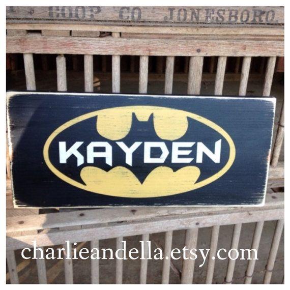 BATMAN Personalized Name Sign Distressed Hand Painted Wall Hanging Door  Sign Bedroom Door Sign Super Hero. BATMAN Personalized Name Sign Distressed Hand Painted Wall Hanging