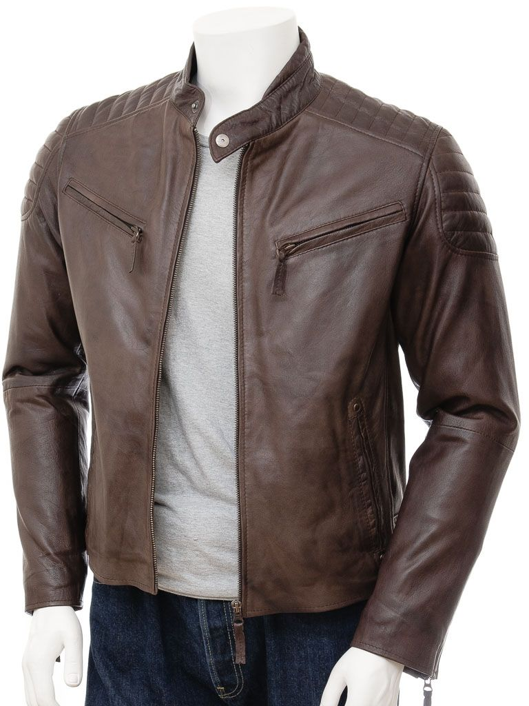 A performance influenced brown leather biker jacket