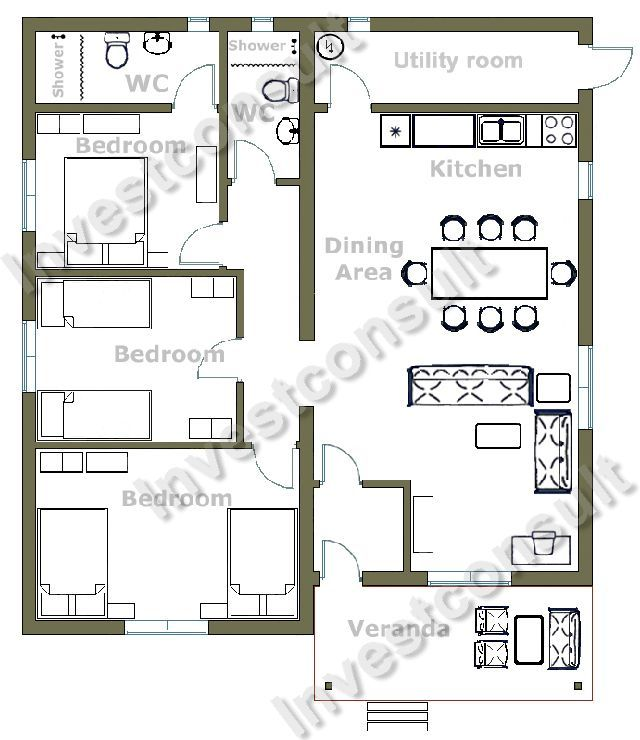 3 Bedroom Small House Design   Google Search
