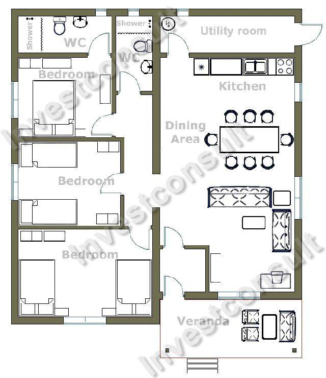 Bon 3 Bedroom Small House Design   Google Search