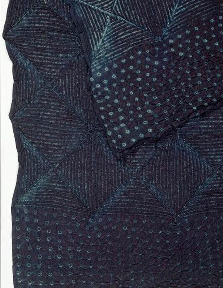 Africa   Stitch and tie resist indigo dyed textile   1950s   Cotton, with bast fibre ties