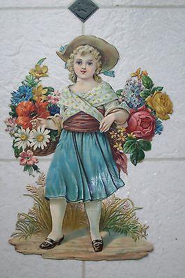 8 1/2 INCH DIE CUT VICTORIAN SCRAP GIRL WITH FLOWERS