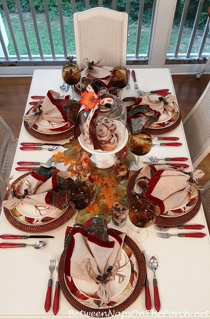 Fall u0026 Autumn Table Setting Ideas with woodland friends from Between Naps on the Porch. & An Autumn Table with Woodland Friends | Table settings Porch and Autumn