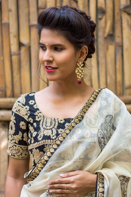 faf042ce1d699b Black and beige threadwork square neck blouse #blouse #saree #houseofblouse  #desi #indianwear #black #beige #threadwork #embroidery