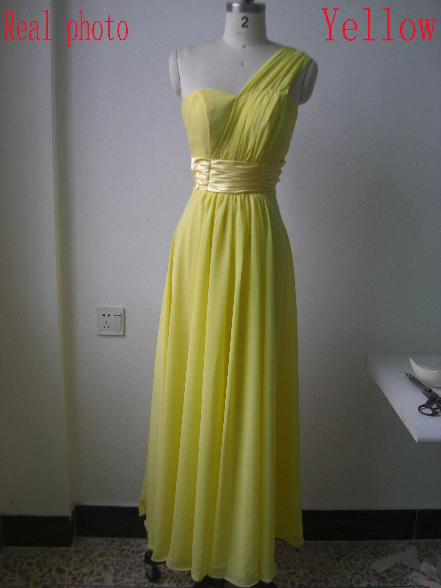 2017 Spring summer bride plus size XXXXL one shoulder blue green Bridesmaid dress long banquet dress chiffon party dress