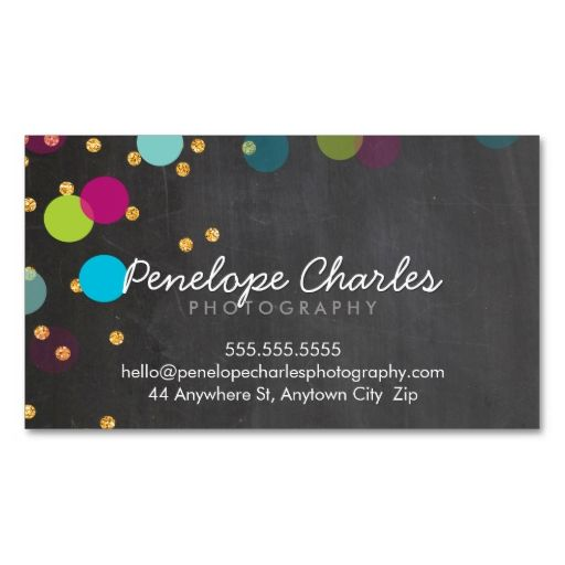 MODERN colorful gold glitter confetti chalkboard Business Card Templates. Make your own business card with this great design. All you need is to add your info to this template. Click the image to try it out!