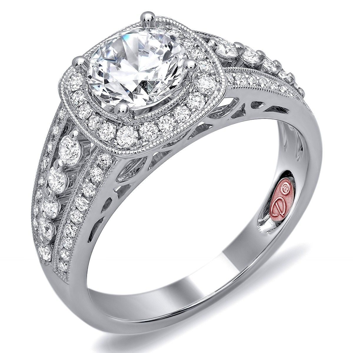 18k white gold semimount with 0.55 carat total weight