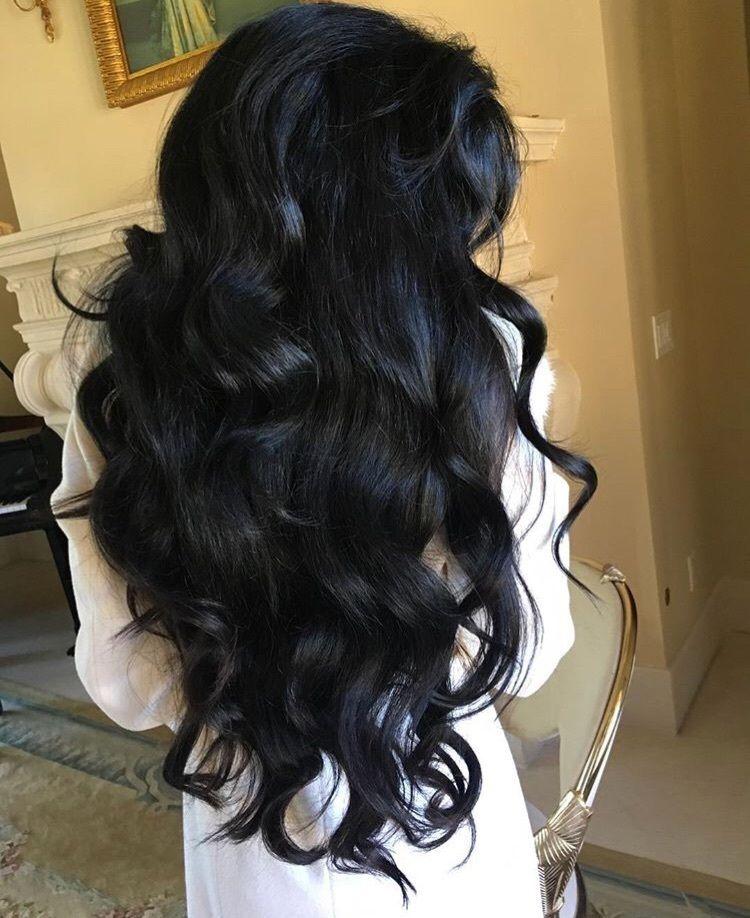 Full Voluminous Jet Black Wavy Hair Black Wavy Hair Hair Styles Long Hair Styles