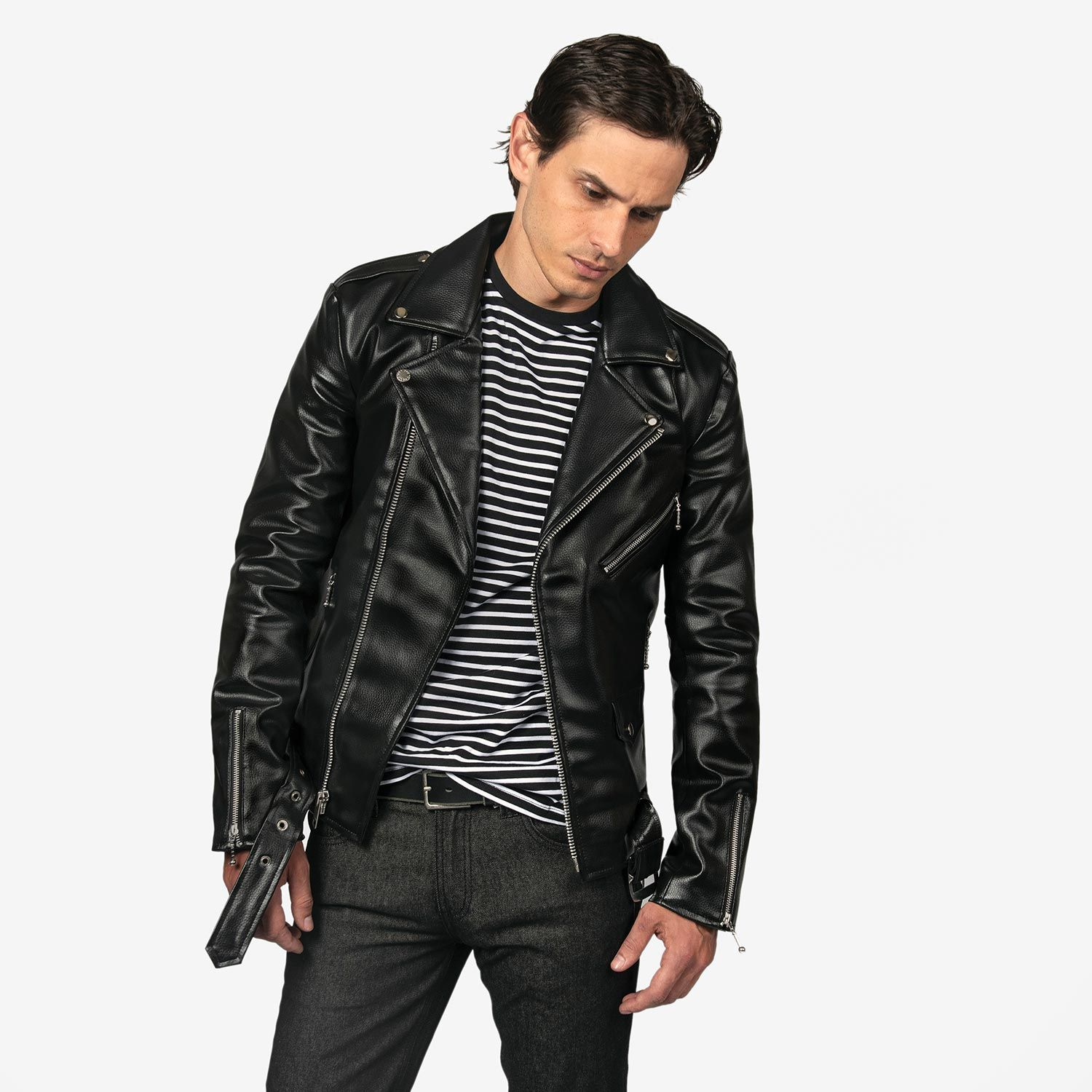 7dda669ba9 Shop Long Vegan Commando II - Black Artificial Leather Jacket with Nickel  Hardware for Tall Men from Straight To Hell Apparel. Live loud.