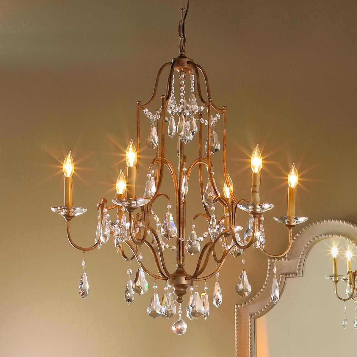 Elegance Crystal Swag Chandelier  Light Warm Art Deco And Shades - Dining room crystal chandeliers