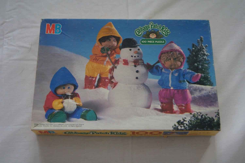Vintage 1984 Cabbage Patch Kids 100 Piece Complete Milton Bradley Puzzle 16x11 Inches Snowtime Snowman Snowsuits Cabbage Patch Kids Kids Cabbage Patch
