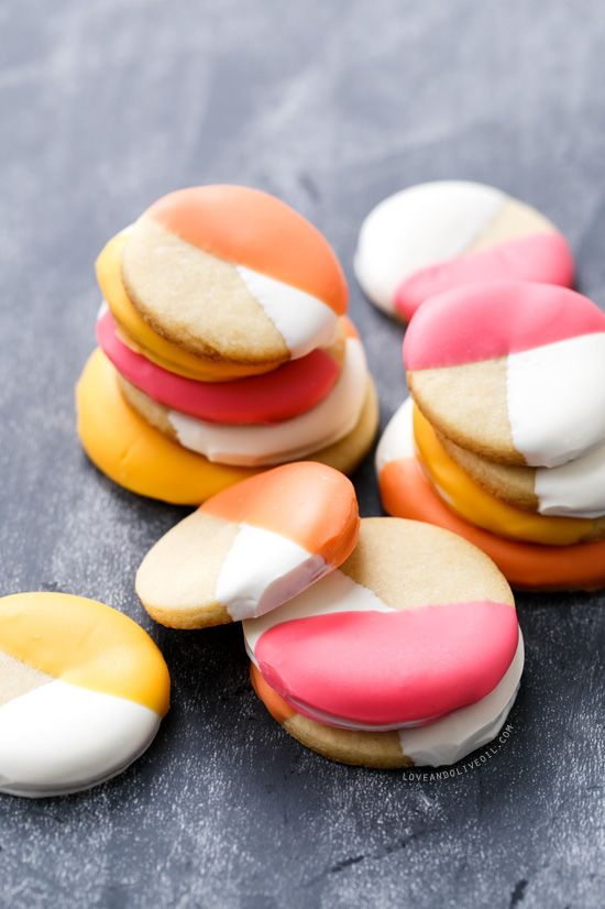 Dipped Colorblock Sugar Cookies #sugarcookies