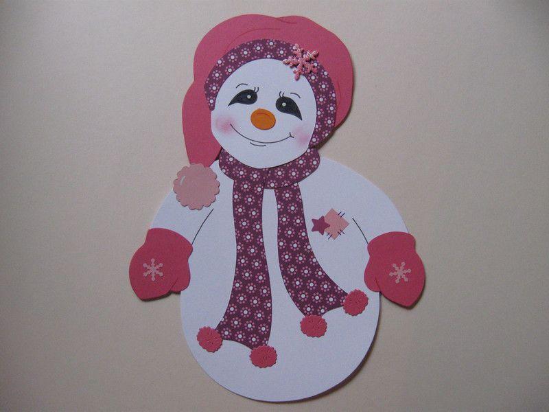 Fensterschmuck fensterbild schneefrau m tze rosa weihnachten ein designerst ck von conchila - Fensterschmuck weihnachten basteln ...
