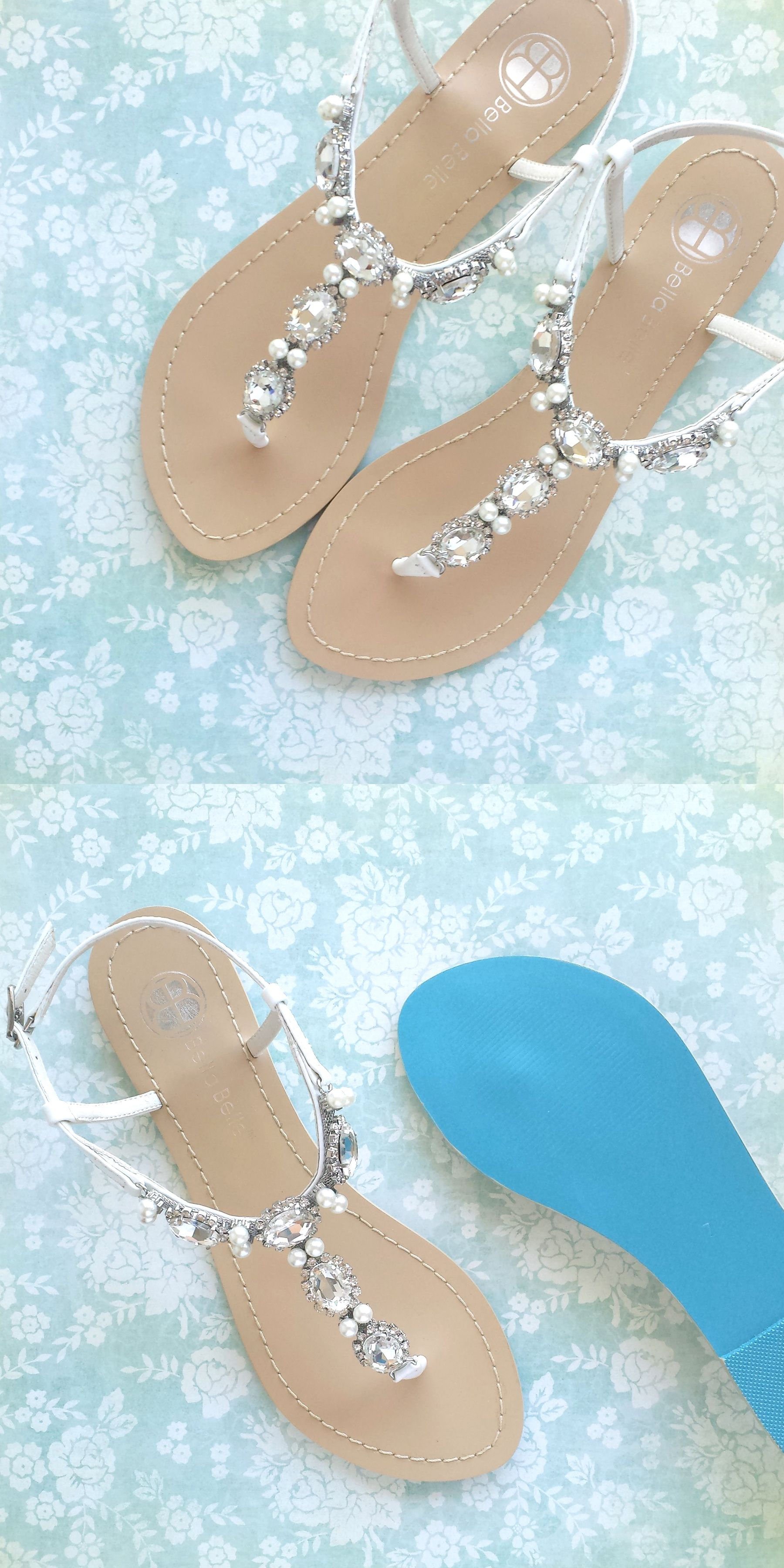 Bella Belle Beach Wedding Crystal And Pearl Sandals With Something Blue Sole  #weddingsandals
