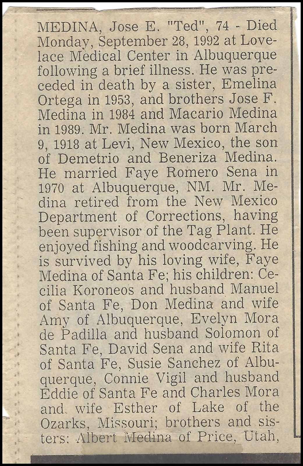 News Clipping Obituary For Ted