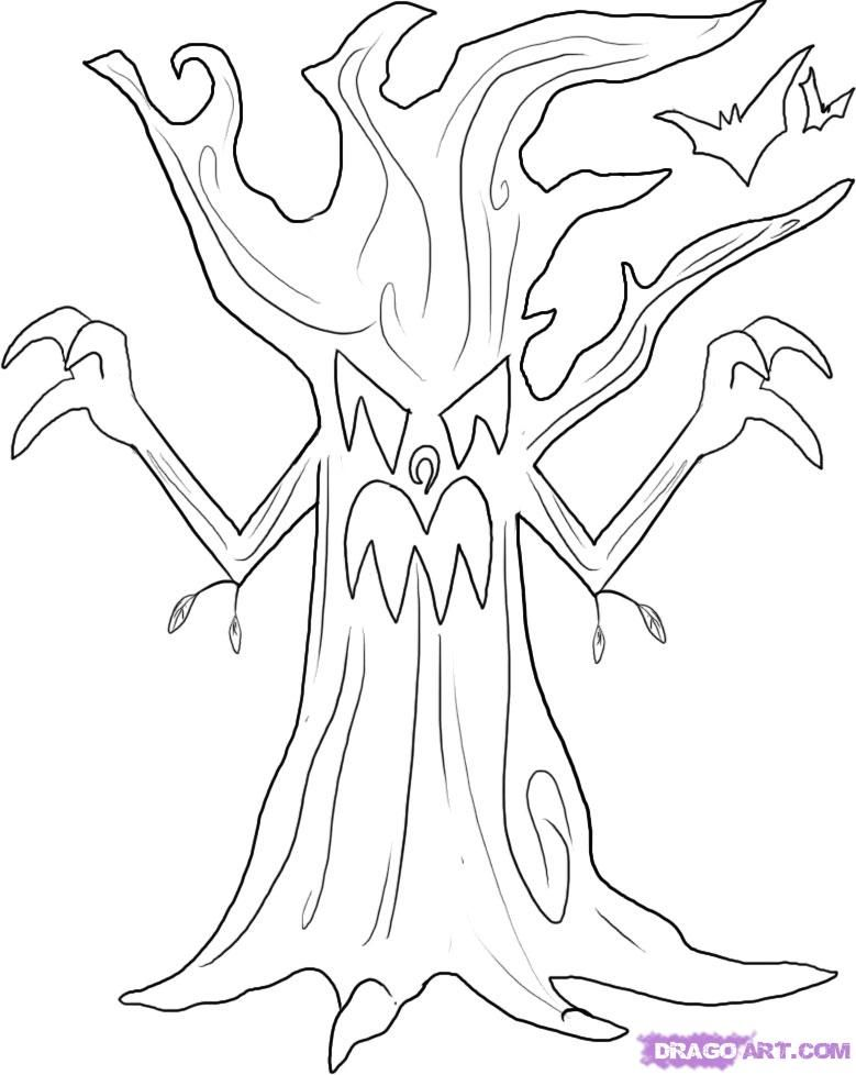 spooky tree coloring page Google Search Halloween