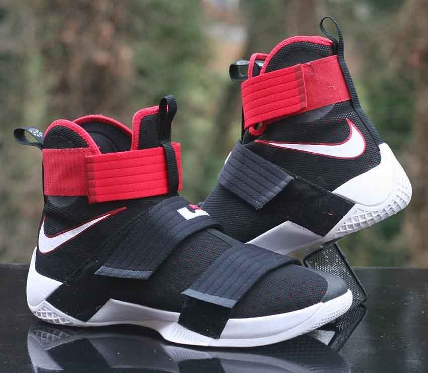5b79d8cbdc7d Nike LeBron Soldier 10 Bred Black Red White 844374-016 Basketball Men s  Size 10  Nike  BasketballShoes