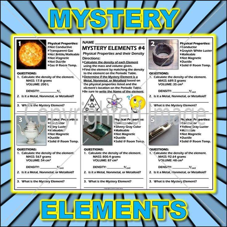 Worksheet Mystery Elements and Their Density Version 4 – Density Worksheet Physical Science