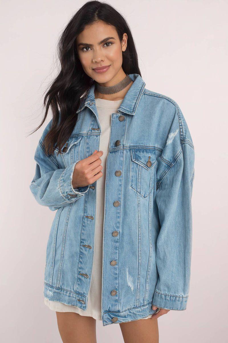 422ee593e26 San Vincente Light Wash Oversized Denim Jacket