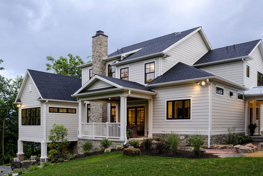 Hardie Plank In Cobblestone With Brick Chinmney Architecture Exterior Facade House Custom Built Homes