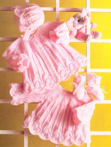 ab56b78d3 Vintage knitting pattern for baby stunning matinee jacket hat and ...