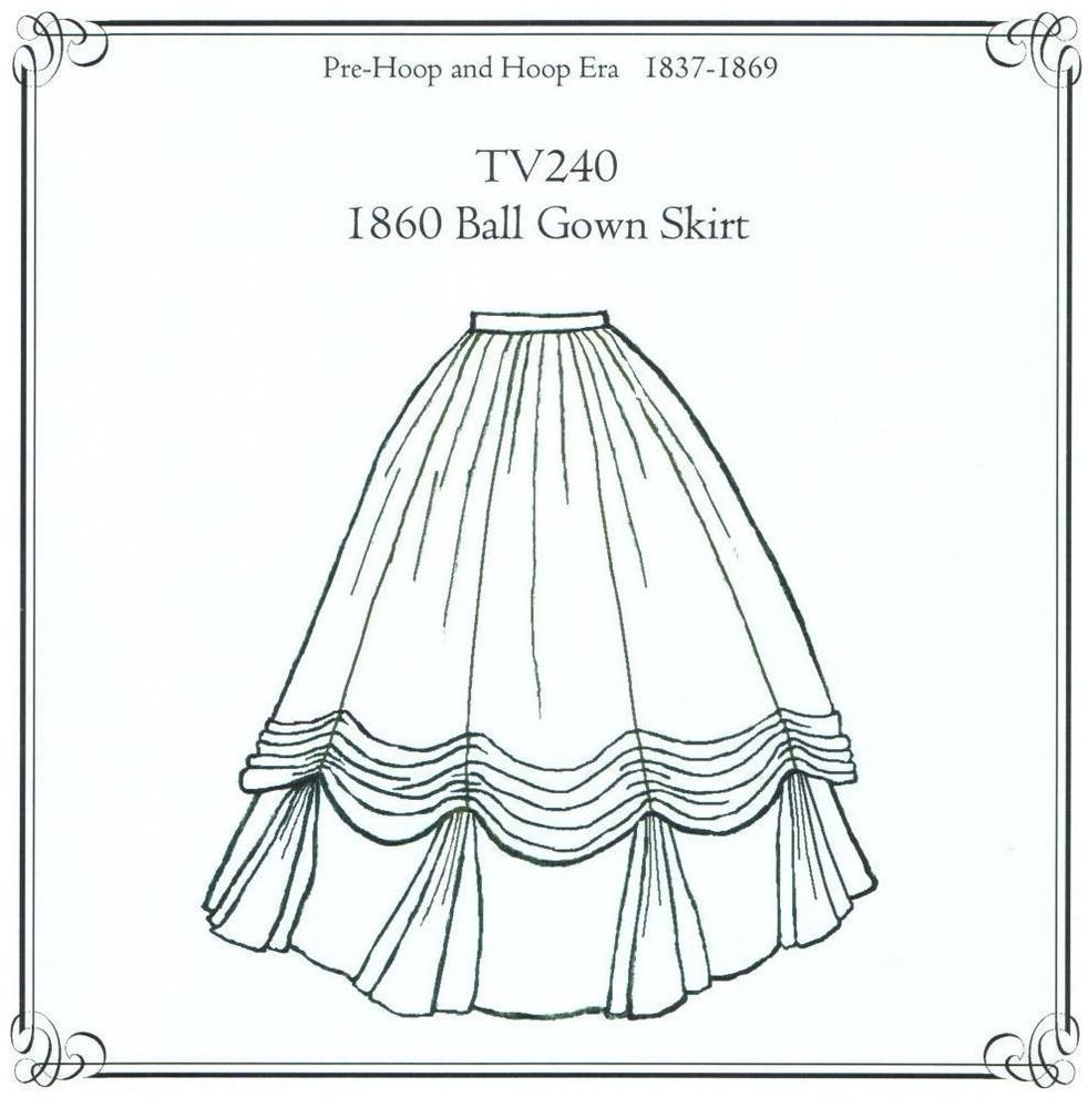 Sewing Pattern for 1860\'s Ball Gown Skirt Truly Victorian TV240 new ...