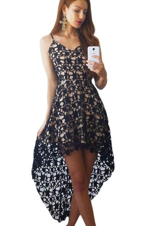 14e8385e6d Black Floral Lace Trim Asymmetric Spaghetti Strap Dress ChicLike.com  Black