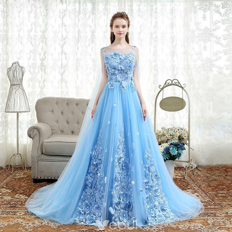 b71baca0ae0 Elegant Sky Blue Prom Dresses 2018 A-Line   Princess Appliques Scoop Neck  Backless Sleeveless Watteau Train Formal Dresses