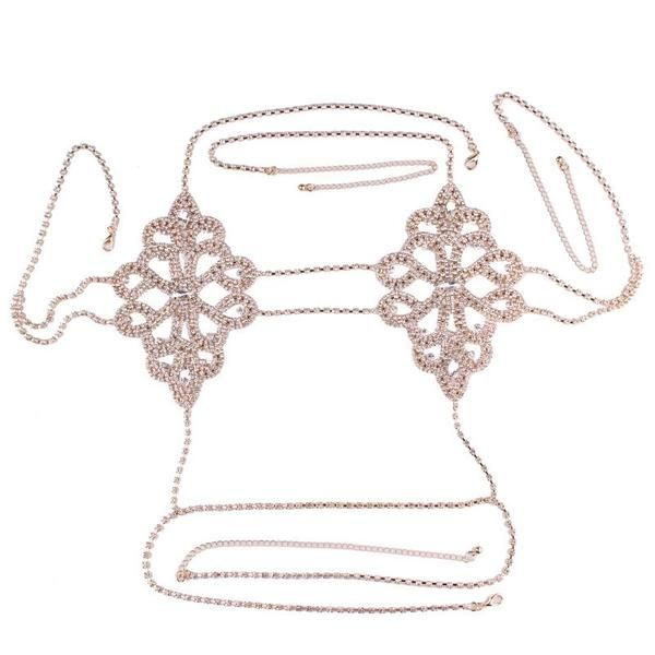 9b8cc8374e Sultry Diamond Bralette with a Jeweled Flower Design. Silver or Gold Chain  Bra Lingerie Body Harness Jewelry. Glamorous Chain Bra Rhinestone Body  Jewelry