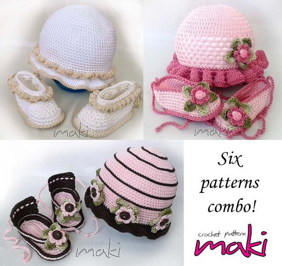 Baby crochet pattern sets booties with matching by MakiCrochet
