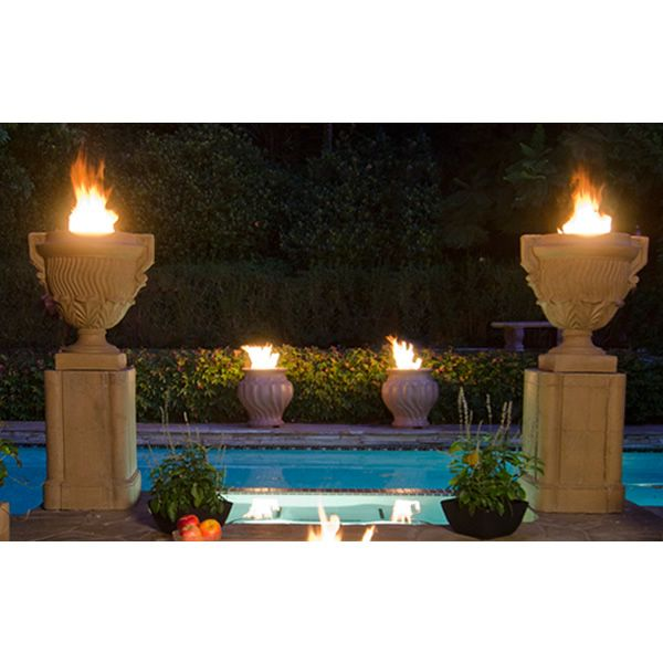 Ferrara Fire Urn With Pedestal Woodlanddirect Outdoor Fireplaces Pits Gas