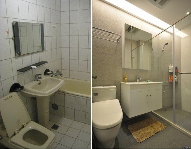 浴室參考 大小與配置皆類似 浴室岩磚一坪2400 廁所照明是間接照明 T5燈管 流明天花板? 鏡櫃是木工