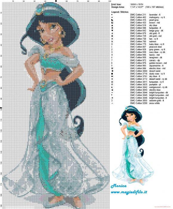 Schema punto croce Principessa Jasmine | одеялца,плед,коврик ...