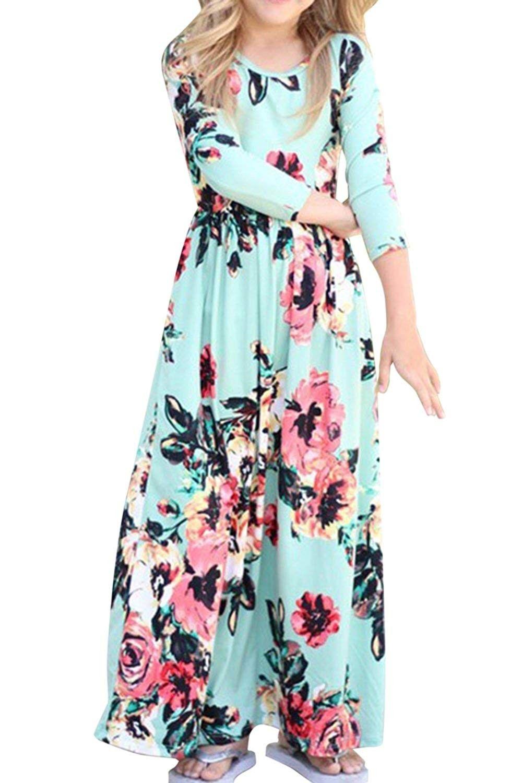 Kids Girls 3 4 Sleeve Floral Print Bohemian Beach Maxi Dress With Pockets Mint Green Cy180a62i07 Girls Maxi Dresses Beachwear Maxi Dresses Maxi Dress [ 1500 x 1000 Pixel ]
