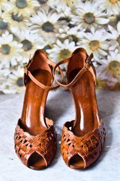 Vintage 70s Tan Leather Wedge Sandals Size 7 5 Vintage