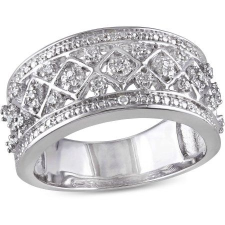 Miabella 1/7 Carat Diamond Sterling Silver Ring, Size: 6