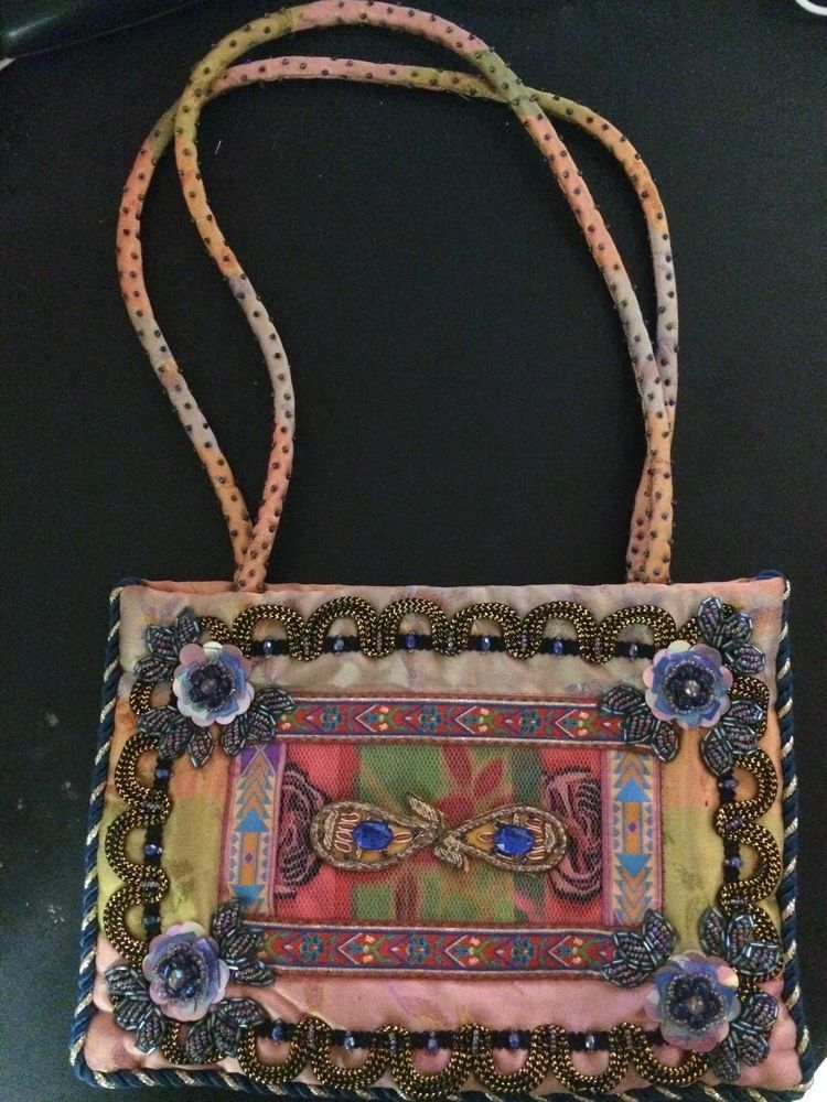 Mary Frances Beaded Erfly Lady Purse Silk Retired Maryfrances Shoulderbag