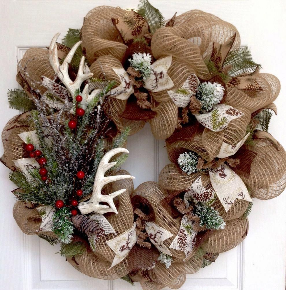 holiday christmas antler wreath - 989×1000