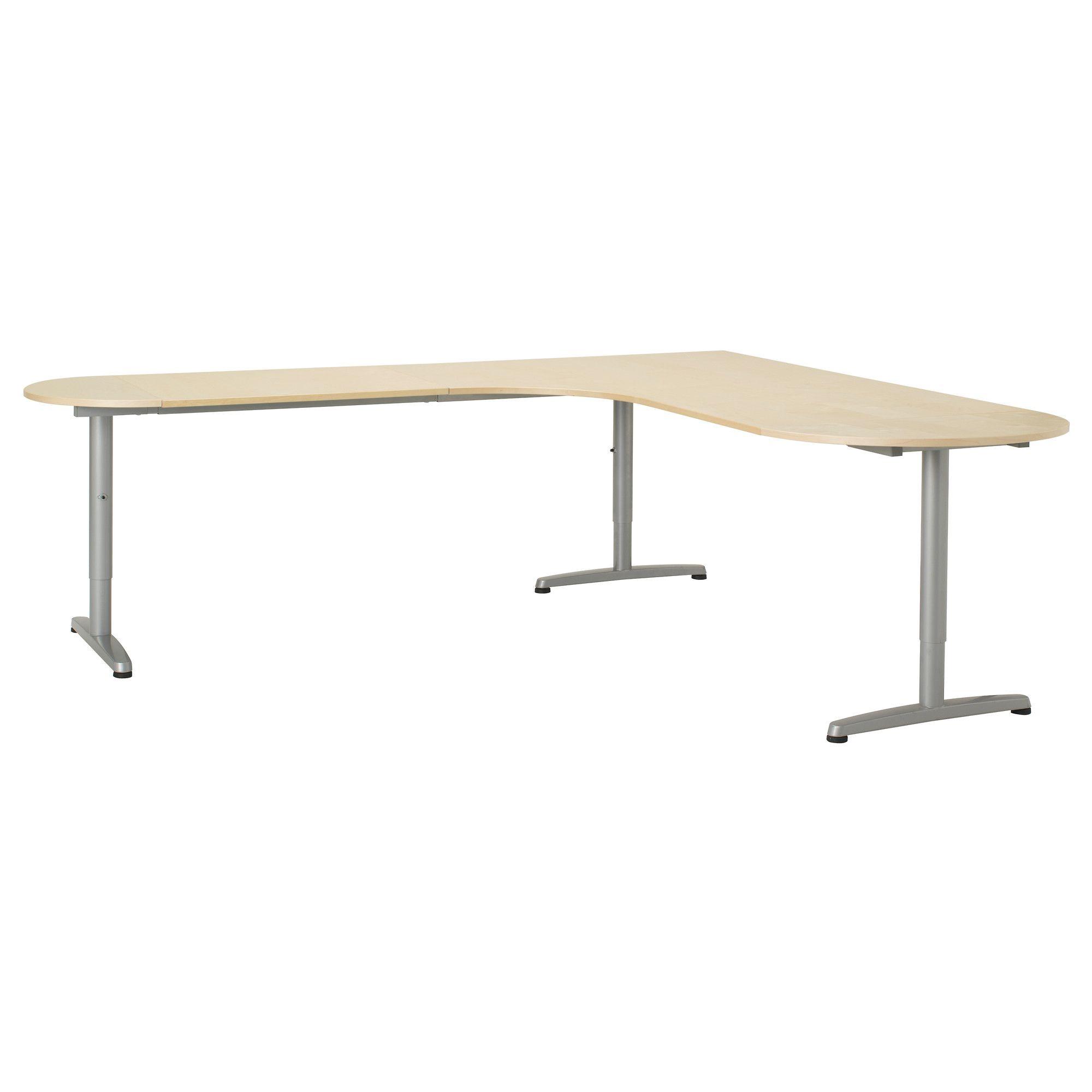 GALANT Desk combination left half-round - birch veneer, T-leg - IKEA