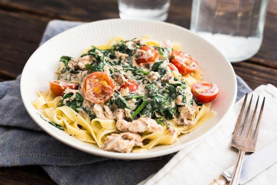 pasta met zalm en spinazie boursin