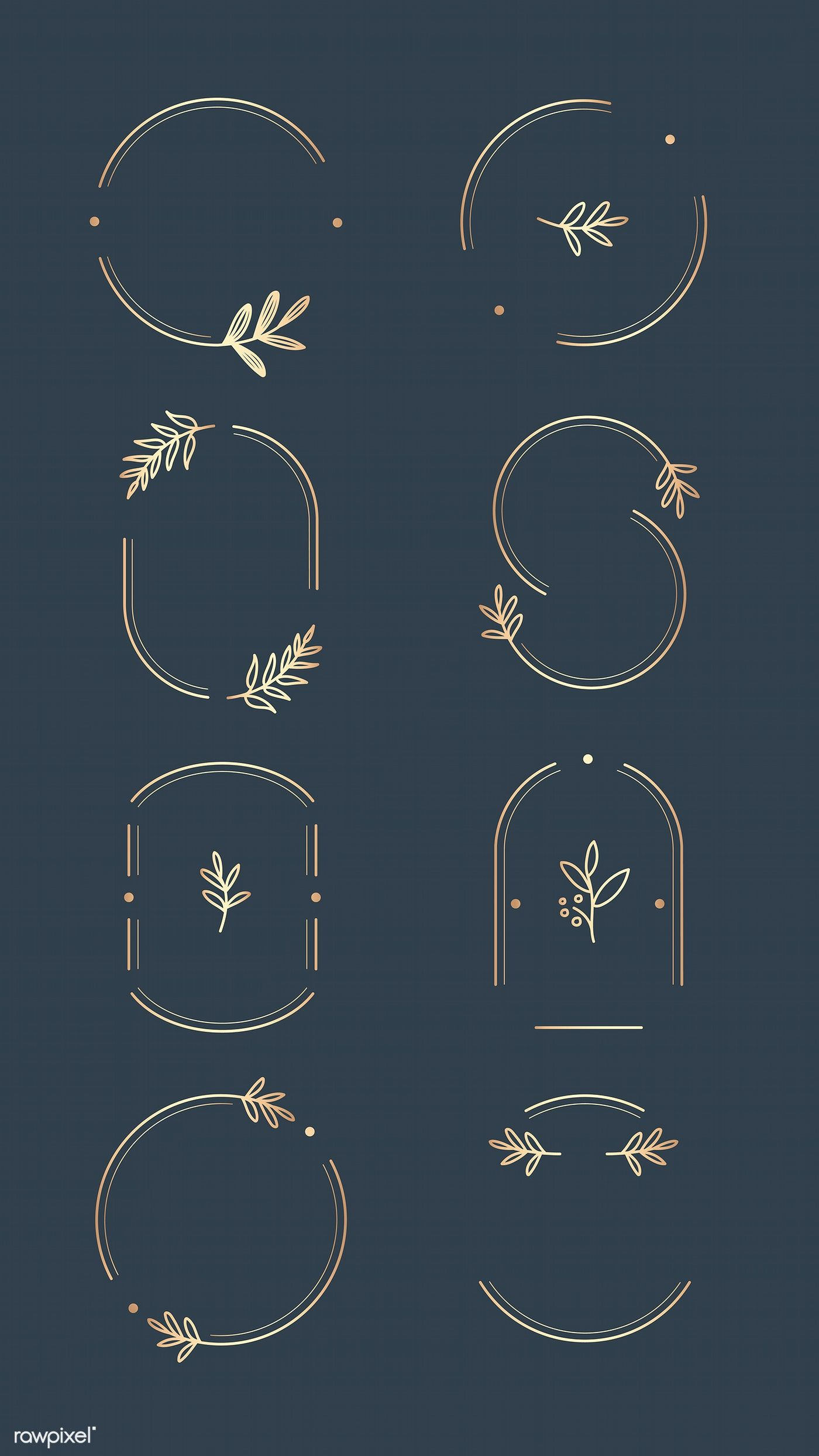Download premium vector of Floral logo design collection on a aegean blue