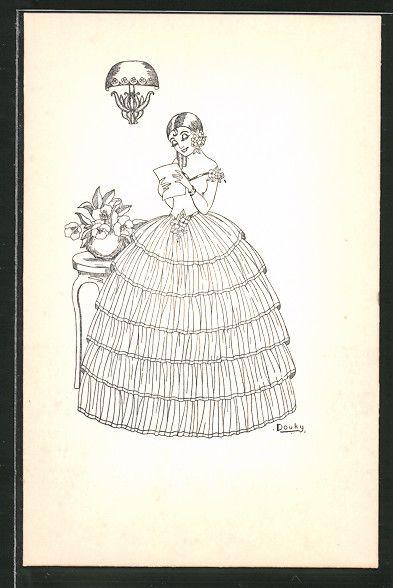 Alte Ansichtskarte: Künstler-AK Douky: junge Dame liest einen Brief, Jugendstil