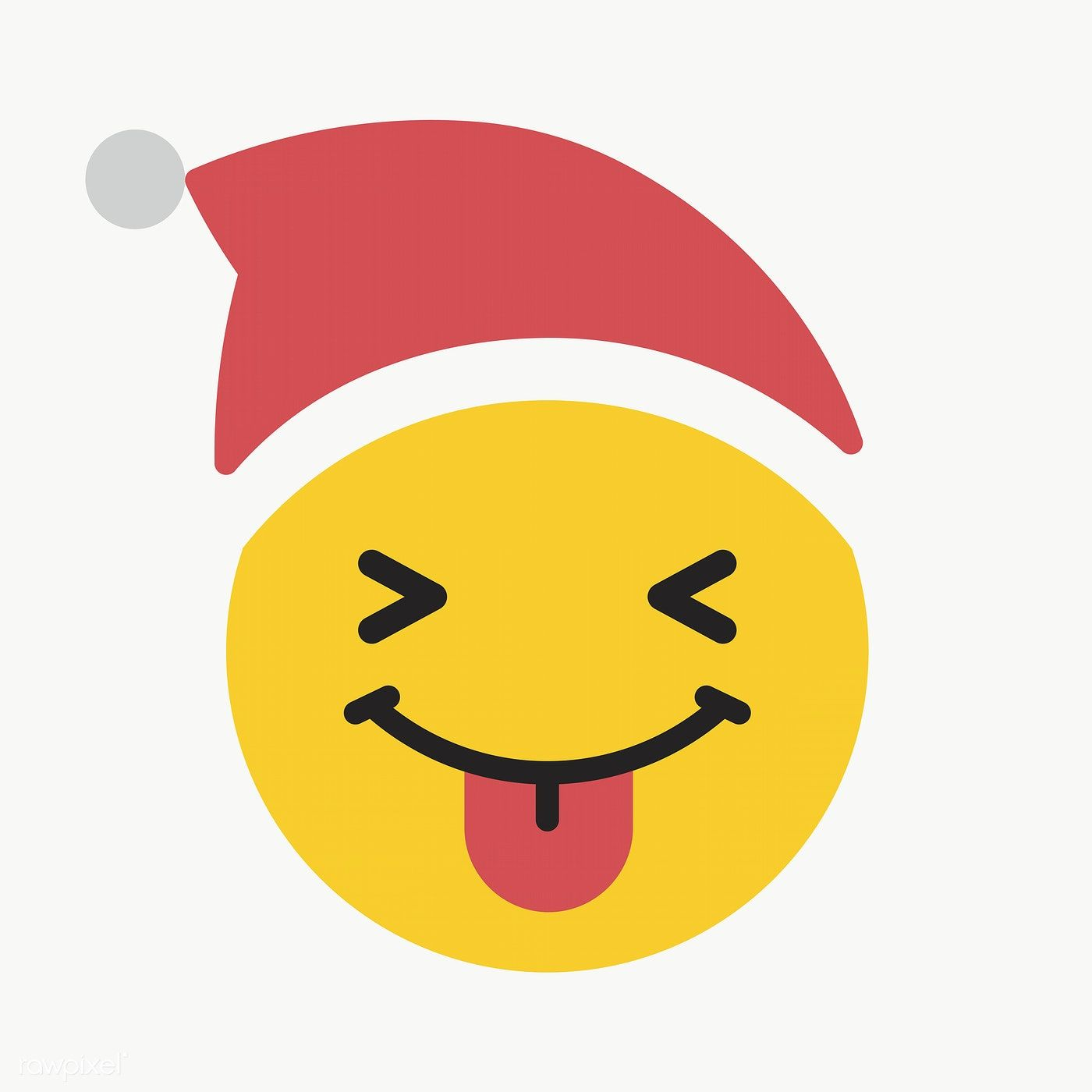 Download Premium Png Of Round Yellow Santa Face With Tongue Emoticon On Santa Face Emoticon Digital Illustration