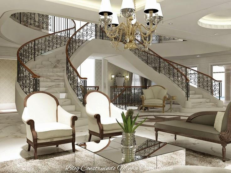 sala de estar luxuosa com escada - Pesquisa Google