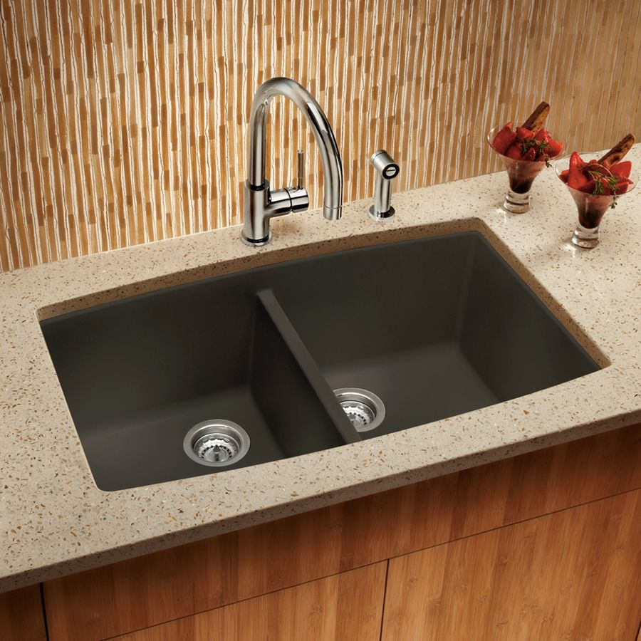 Shop BLANCO Performa 20-in x 33-in Cafe Brown Double-Basin Granite ...