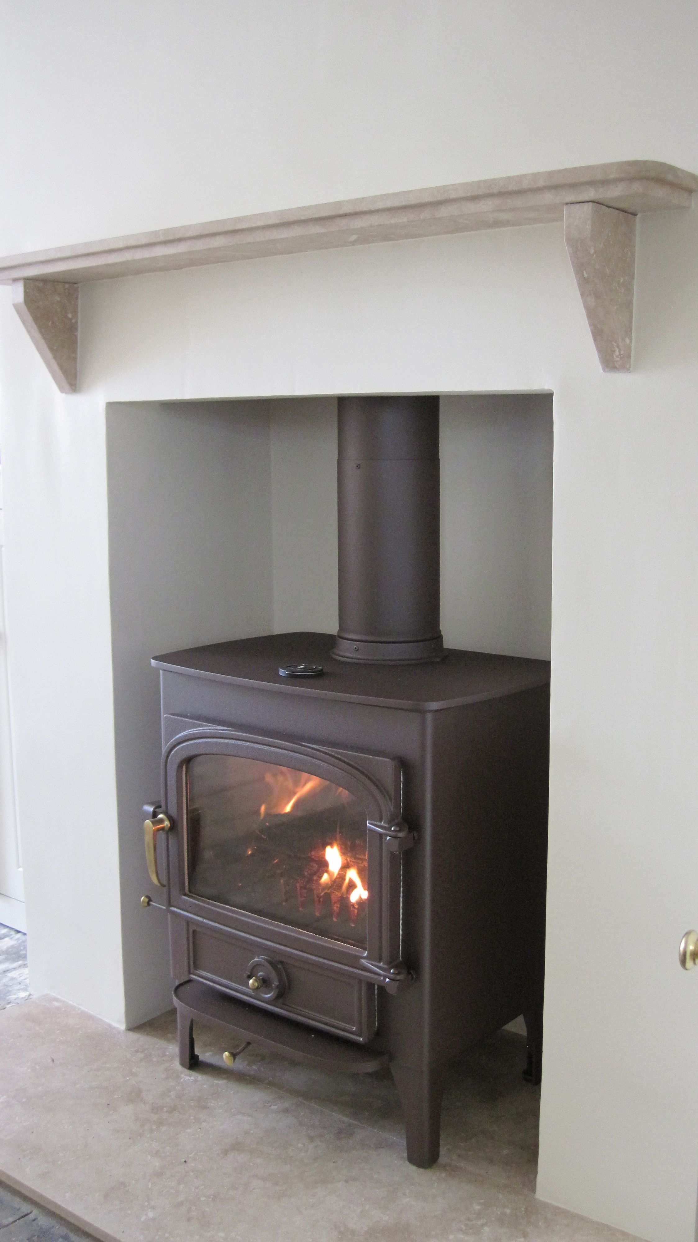 Clearview vision wood burner in mahogany brown and turkish