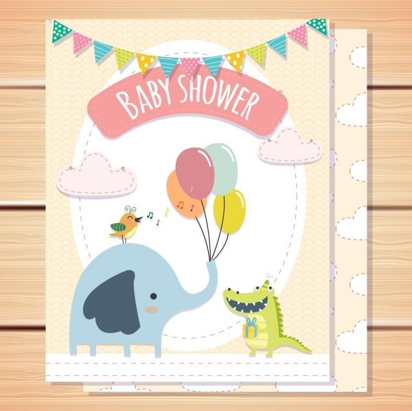 Baby Shower Card Template Elephant Crocodile Bird Icons  Vectores