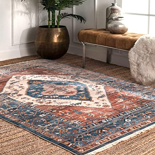 Amazon Com Nuloom Mabel Tribal Area Rug 5 X 7 9 Rust Kitchen Dining Tribal Area Rug Area Rugs Area Rugs For Sale 5 x 7 rugs on sale